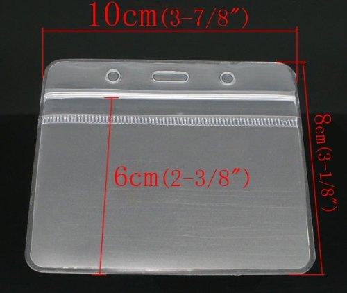CKB Ltd 50x ID Badge Card Plastic Pocket Holder Pouchs Carta Holders Identificazione Portabadge Tesserino di Riconoscimento 98 x 78mm Orizzontale With Grip Seal Trasparente PVC