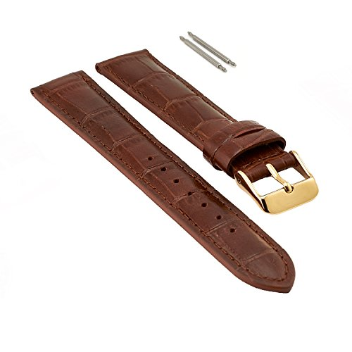 18mm Brown Leather Watch Band for Men, Gold Buckle, Leather Watch Bands for Men, Genuine Leather Watch Strap, Extra Long XL, Crocodile Print Leather, 2 Free Pins, Easily Changeable by THIRTEEN.02