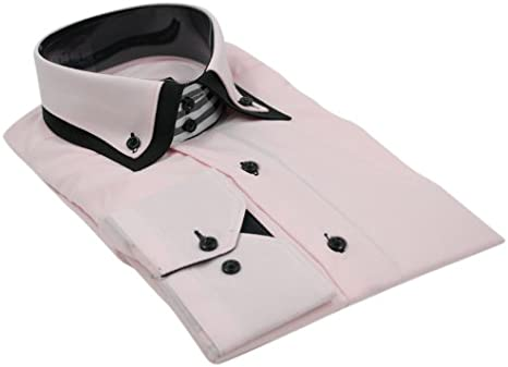 Makrom Mens Italian Design Pink Black Double Collar Shirt Slim Fit Smart or  Casual 100% Cotton: Amazon.co.uk: Clothing