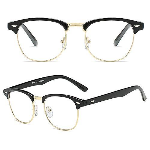 COASION Vintage Semi-Rimless Clear Glasses Fake Nerd Horn Rimmed Eyeglasses Frame (Bright Black/Gold Rimmed)