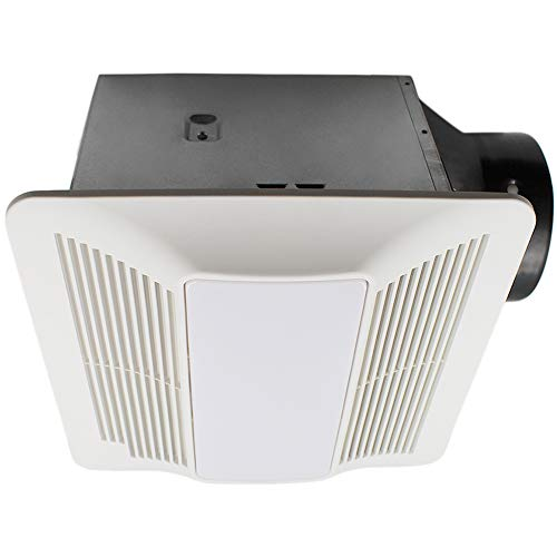 ESD Tech Quiet Bathroom Exhaust Fan Light Combo with Adjustable Humidity Sensor & Timer - 0.4 Sones, 90 CFM, White Grill, 6-Inch Duct with 4-Inch Adapter, Energy Star, ETL Listed. Easy-to-Change Bulb