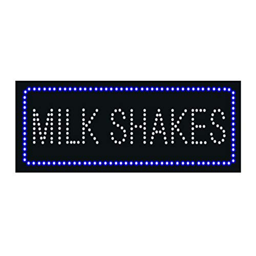 LED Burgers Shakes Milkshakes Open Light Sign Super Bright Electric Advertising Display Board for Ice Cream Hamburger Fast Food Restaurant Business Store Window Home Bedroom Decor 32 x 13 inches