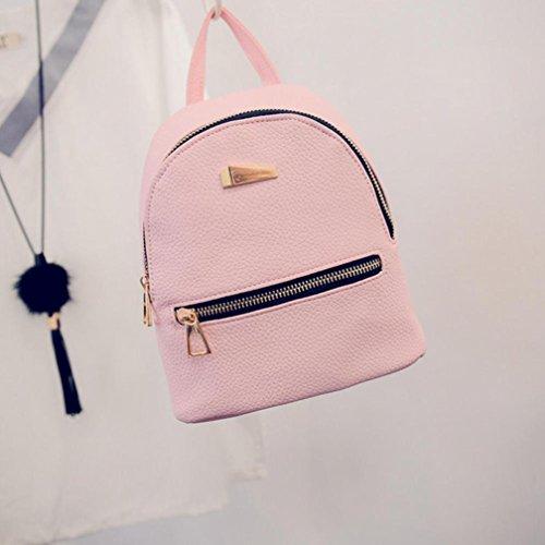 Pink Rucksack Travel Women Shoulder Backpack Bag Inverlee Leather School College Satchel ZvxIwHq8