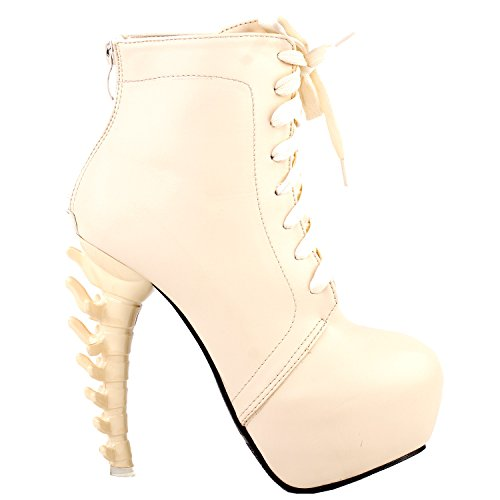 Botas Hueso High Punk Punk High Up LF80647 Show Plataforma Beige Top Lace de 0367ab
