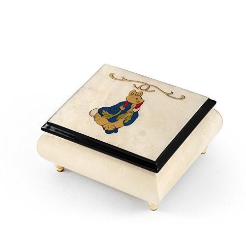 Stunning 18 Note Ivory Stain Beatrix Potter Music Box with Tales of Peter Rabbit Wood Inlay - Oh What a Beautiful Morning by MusicBoxAttic