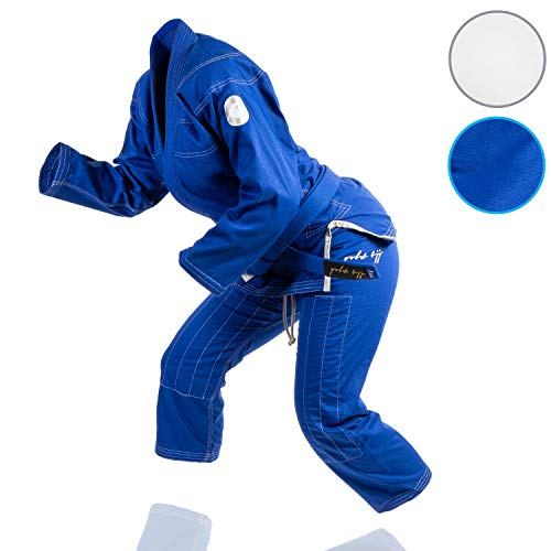 (Gold BJJ Jiu Jitsu Gi - Ultra Light Women's Aeroweave - IBJJF Competition Approved Lightweight Uniform for Women (Blue, F2))