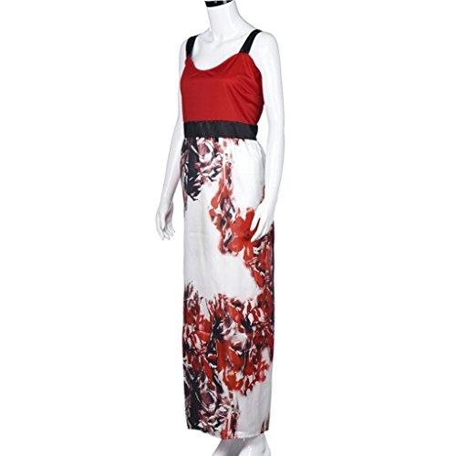 De Fiesta Largo Vestido Formal Mujeres Tamaño Rojo Florales Más Baile Impresas Amlaiworld xqUZ46wC4
