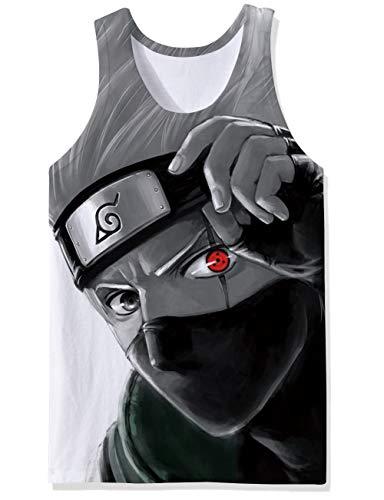 Eye Juniors - Juniors Athletic Muscular Tank Tops Grey Red Kakashi Kaleidoscope Written Round Eye Mask Cool Graphic Prints T Shirts Decent Dumb Tee Vest Undershirt Wife Beater