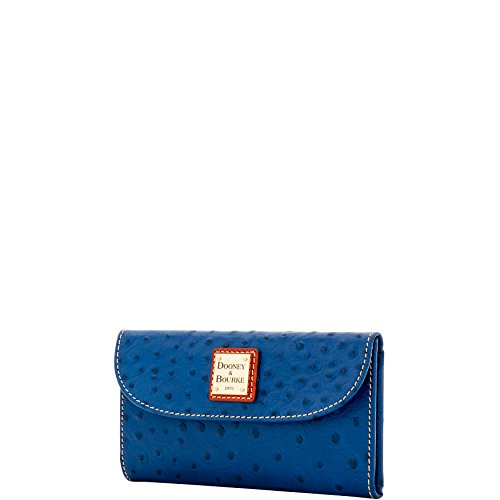 Dooney & Bourke Ostrich Leather Continental Clutch Wallet Midnight by Dooney & Bourke