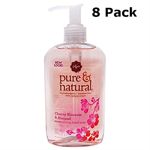Pure & Natural Moisturizing Hand Soap, Cherry Blossom & Almond, 8.45 Oz Pump (Pack of 8)