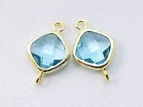 2 pcs, 15x10mm, Aqua Blue Square Diamond Pendant Charm Dangle, Gold Rim - PC-0225