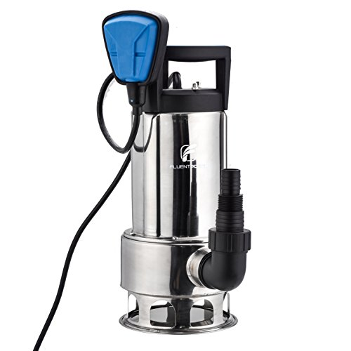 FLUENT POWER Stainless Longer Duration Submersible Water Removal Pump - 110V/60Hz 1HP 4000 GPH for Clean and Dirty Water