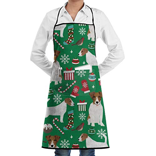 Jack Russell Christmas Cards - xiaolang Kitchen Aprons Jack Russell Terrier Christmas Fabric Jack Russells Dog Fabric Xmas Christmas Fabric_678 Adjustable Bib Apron with Pockets 28.3x20.5inch
