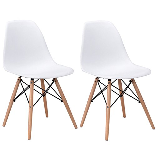 Giantex Set of 2 Dining Chairs Modern Accent Mid Century Style Bedroom Dining Room Kitchen Plastic Seat Wood Dowel Legs Lounge Chair DSW Chair, White