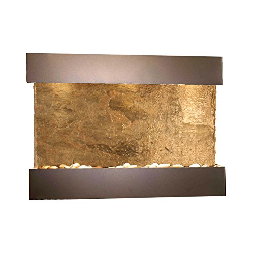 - Reflection Creek Water Feature with Antique Bronze Trim and Square Edges (Natural Green Slate)