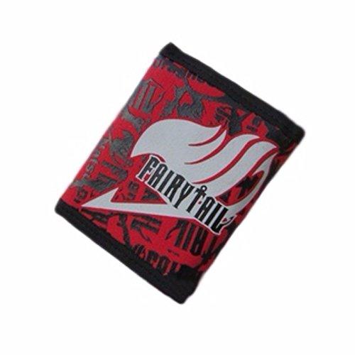 Hombre bolsillos Cartera Fairytail Multi Rojo Piel New Negro Purse Rare Cuero XaqgAA