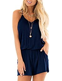 2c49cc06ccb5 Womens Casual Summer One Piece Sleeveless Spaghetti Strap Playsuits Short  Jumpsuit Beach Rompers Navy Blue X