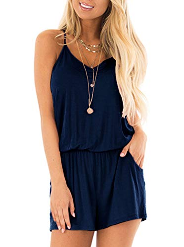 REORIA Womens Casual Summer One Piece Sleeveless Spaghetti Strap Playsuits Short Jumpsuit Beach Rompers Navy Blue Large by REORIA