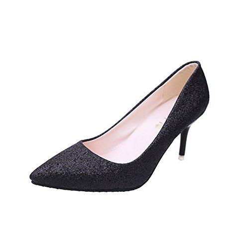 Sur Fine Fminine La Peu Fminine Profonde Isoles 36 Chaussures Pointe Mode Hauts Mariage De Des Bouche Noir Talons Footwear Avec Vido dwIqnUg5IO