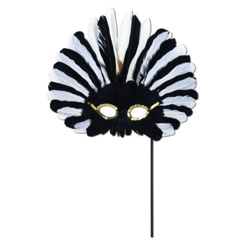 Beistle Feathered Mask with Stick for Halloween (Feathered Masquerade Mask)