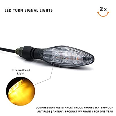 MFC PRO Universal Hi-quality LED Turn Signal Light for Kawasaki Ninja 650 650R Z800 ZX6R Honda MSX125 Grom125 Suzuki GSXR 600/750/1000 GS500F Yamaha YZR R1/R3/R6 (Clear): Automotive