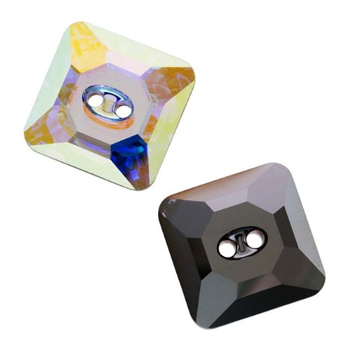 Swarovski Crystal, 3017 Faceted Square Sew-On Stone Buttons 16mm, 1 Piece, Crystal AB (Square Swarovski 3017 Buttons Crystal)