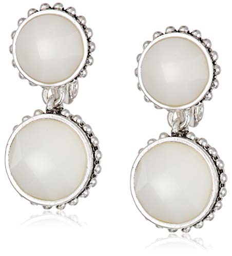 Napier Women's Silver/White Circle Drop EZ Comfort Clip Earrings ()