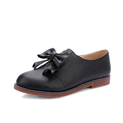 AgooLar Damen Ziehen auf PU Rund Zehe Niedriger Absatz Rein Pumps Schuhe Schwarz