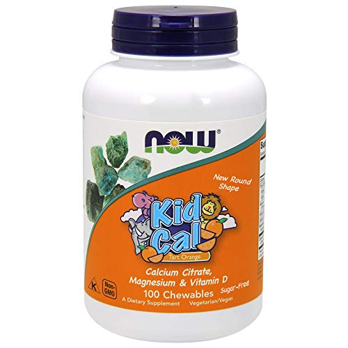Now Supplements, Kid Cal with Calcium Citrate, Magnesium and Vitamin D, Tart Orange, 100 Chewables