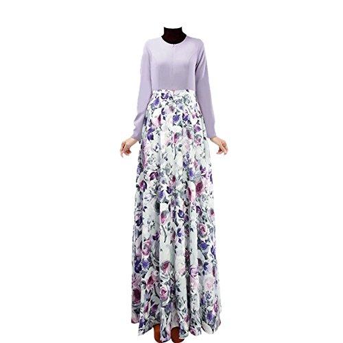 Zhuhaixmy Damen Muslim Druck Kleid Middle East Kaftan Abaya Arab Dubai Schlanke Robe Purple 4dFnzYNOYd