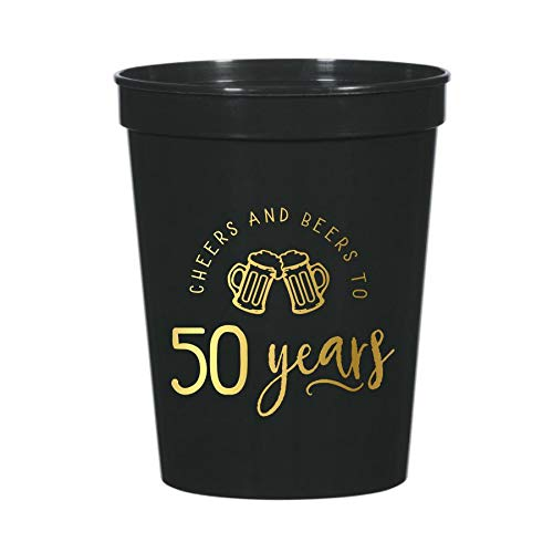 Cheers and Beers to 50 Years with Beer Mugs, Set of 10 Plastic Stadium Cups for a 50th Birthday Party