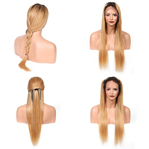 Lace Front Human Hair Straight Ombre Blonde27 Color Full Lace Wigs Glueless Virgin Brazilian Wig with Baby Hair by KRN (22inch, 150% full lace (27 Glueless Lace)