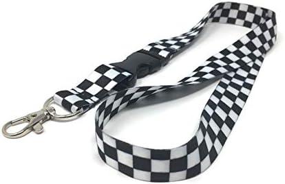Black and white Checkered Lanyard Keyring strap key