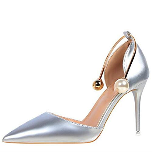 Moment Woman Pumps Pearl Ring Wrapped Ankle Black Dress Shoes Sexy Party Stilettos Red Wedding Heels,Silver,38