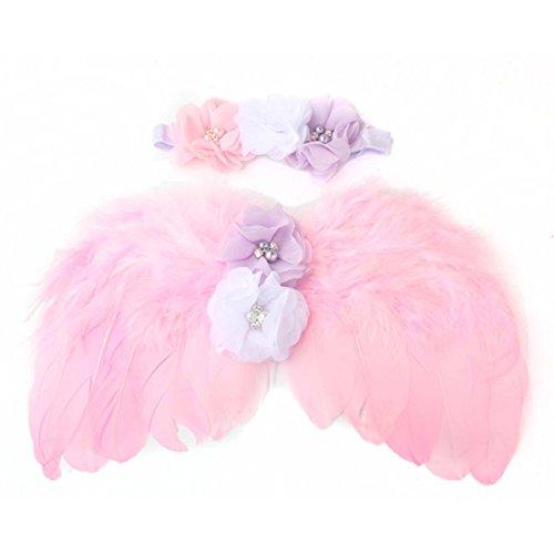 Pink Angel Chiffon Wings (ZhengYa Photo Prop Outfit Baby Girl Angel Feather Wing Costume Chiffon with Headband Newborn Photo Prop)