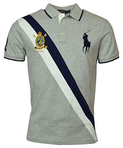 Polo Ralph Lauren Mens Big Pony Custom Slim Fit Three Button Crest Polo (Medium, Gray)