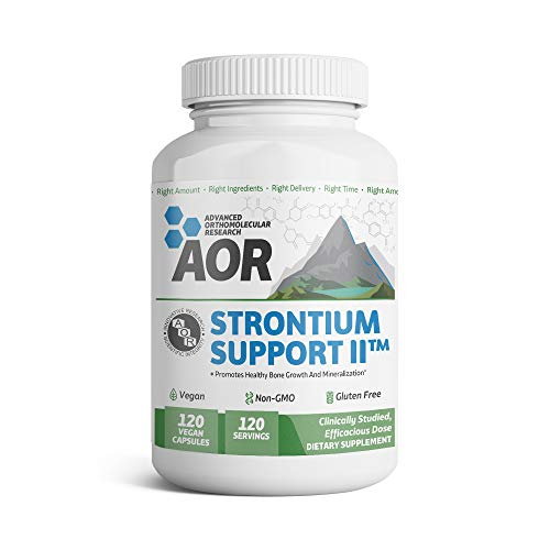 (AOR - Strontium Support II, Mineral Support for a Healthy Skeletal System and Bone Growth, Vegan, Non-GMO, Gluten-Free, 120 Capsules (120 servings))
