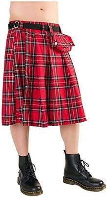 Horror-Shop tartán falda corta con la bolsa del cinturón rojo XXL ...
