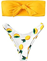 Women's Sexy Swimsuit Fruit Print Knot Front Off Shoulder...