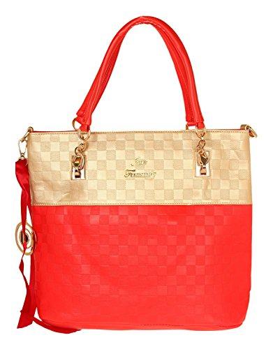 Ilan Fernandez Damen Shoulder Bag Rot-Gold A8562-RED-GOLD