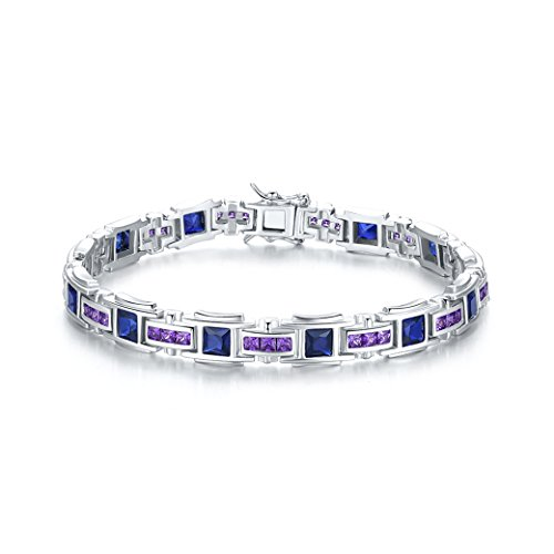 Zetaur 925 Sterling Silver Created Filigree Blue Topaz & Amethyst Charm Bracelet by Zetaur