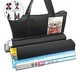 Mose Cafolo~ American Mahjong Set - Black Paisley Soft Bag - 166 White Engraved Tiles, 4 All-In-One Rack/Pushers Western Mah Jongg Game Set