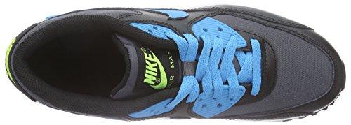 Nike Air Max 90 Mesh (GS) Unisex-Kinder Low-Top Schwarz (004 BLACK/BLUE LAGOON-DRK GREY-WHT)