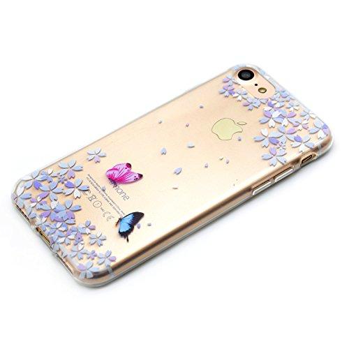 iPhone 6 / 6S Plus Hülle , Leiai Modisch Farbe Schmetterling TPU Transparent Clear Weich Tasche Schutzhülle Silikon Handyhülle Stoßdämpfende Schale Fall Case Shell für Apple iPhone 6 / 6S Plus