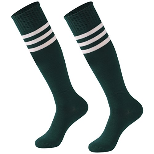 Sock Stripe Fashion - Calbom Soccer Socks Basketball Socks, Youth Long Knee High Cotton Cushion Fashion Tube Socks 2 Pairs Drak Green