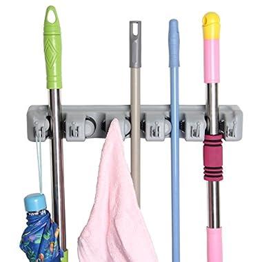 Eco-best(tm) Broom Mop Holder Hanger Garage Storage Hooks, 5 Position 6 Hooks, Storage Solutions for Broom Hangers,garage Storage Systems Broom Organizer for Garage Shelving Ideas