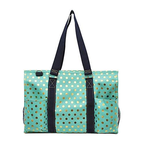 NGIL All Purpose Organizer Medium Utility Tote Bag 2018 Spring Collection (Gold Polka Dot Mint)