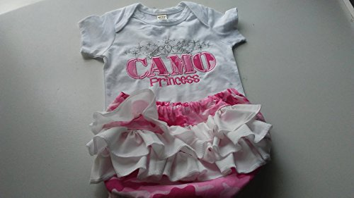 - Baby Girl Pink White Camo Princess Camouflage Ruffle Diaper Cover Red Set Outfit 6 months - 24 months