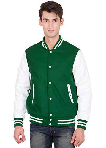 Caliber Apparels White Leather Sleeves & Kelly Green Wool Body Varsity Jacket-Men M by Caliber Apparels
