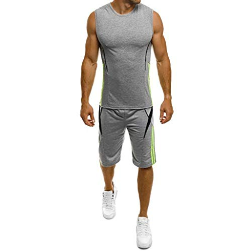 Dearprias Sport Suits Men's Performance Sleeveless Workout Bodybuilding Tank Tops Shorts Gray